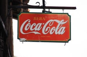 hanging sign of Coca-Cola