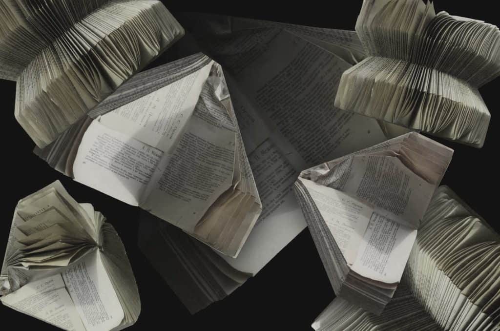 photos showing stacks of paper