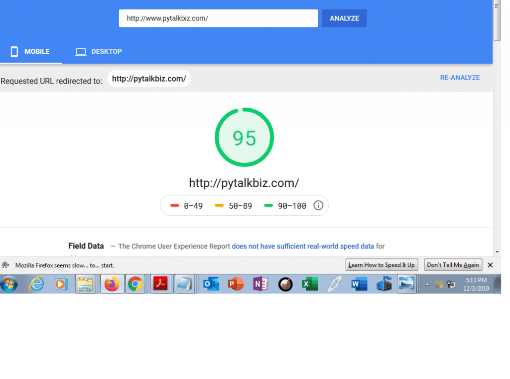 pytalkbiz.com web page speed test. graded at 95