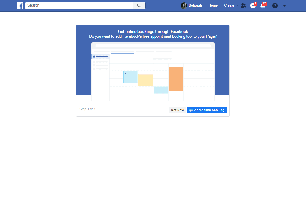 upload your cover page to facebook