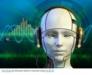 example of chatbots, a lady with a headset on using AI powered software