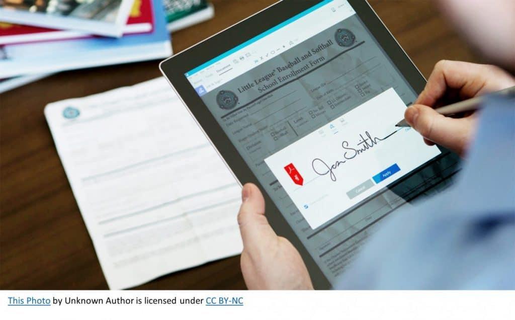 an electronic signature, using an ipad
