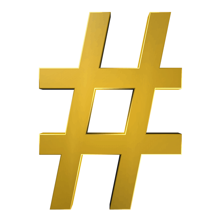 what are hashtags and how to use them, gold pound sign