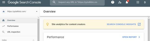 google search console page