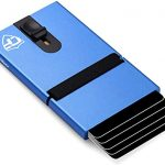 a blue credit card protector case, protects form electronic pickpocketing, indentity threft